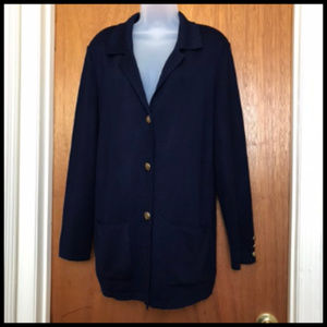 Long Navy Sweater Jacket Cardigan Gold Buttons
